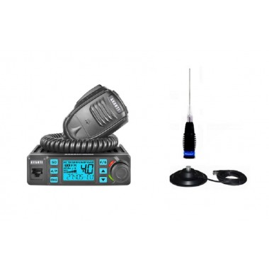Pachet Statie Radio CB Avanti Delta 2 ASQ 2020 Export reglabila 4-10-20W cu Antena ML145