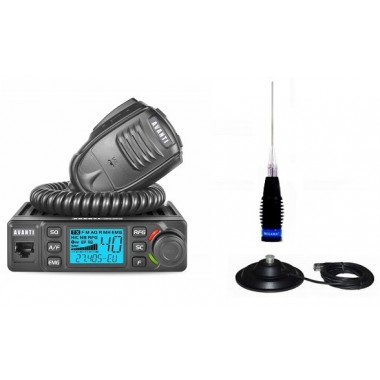 Pachet Statie Radio CB Avanti Delta ASQ Export cu putere reglabila 4-10-20 Watti cu Antena ML145