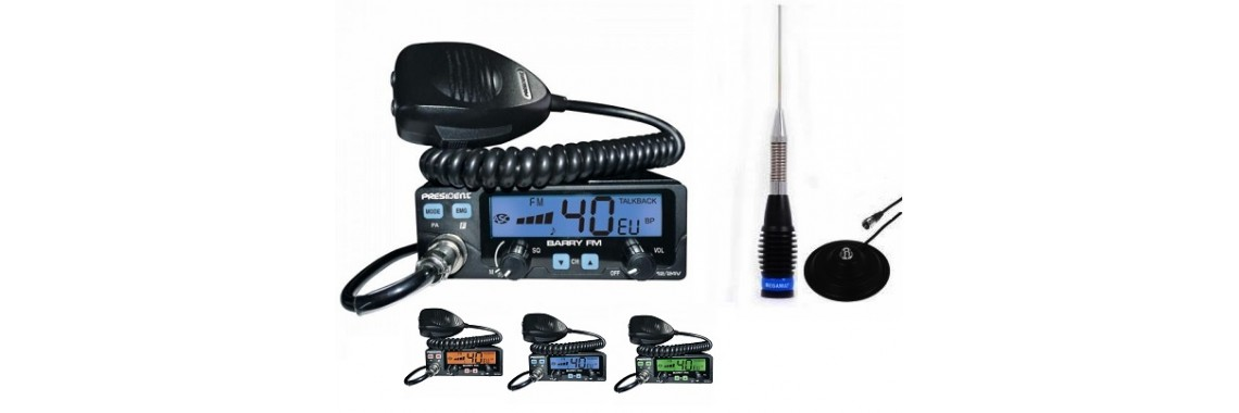 Pachet Statie CB President Barry 20 Watti cu antena ML145
