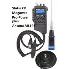 Pachet Statie Radio CB Megawat Pro Power 4W cu antena Megawat ML145 cu magnet