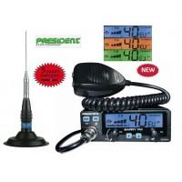 Statie Radio CB President Barry ASC FM 12/24 Volti pachet cu antena President ML145 INOX