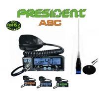 Pachet Statie CB President Barry FM 12/24 Volti, 20 Watti cu antena ML145