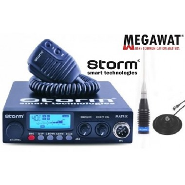 Statie Radio CB Storm Matrix II ASQ 10 cu antena cu magnet Megawat  ML145